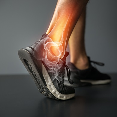 photo illustration of foot and bones